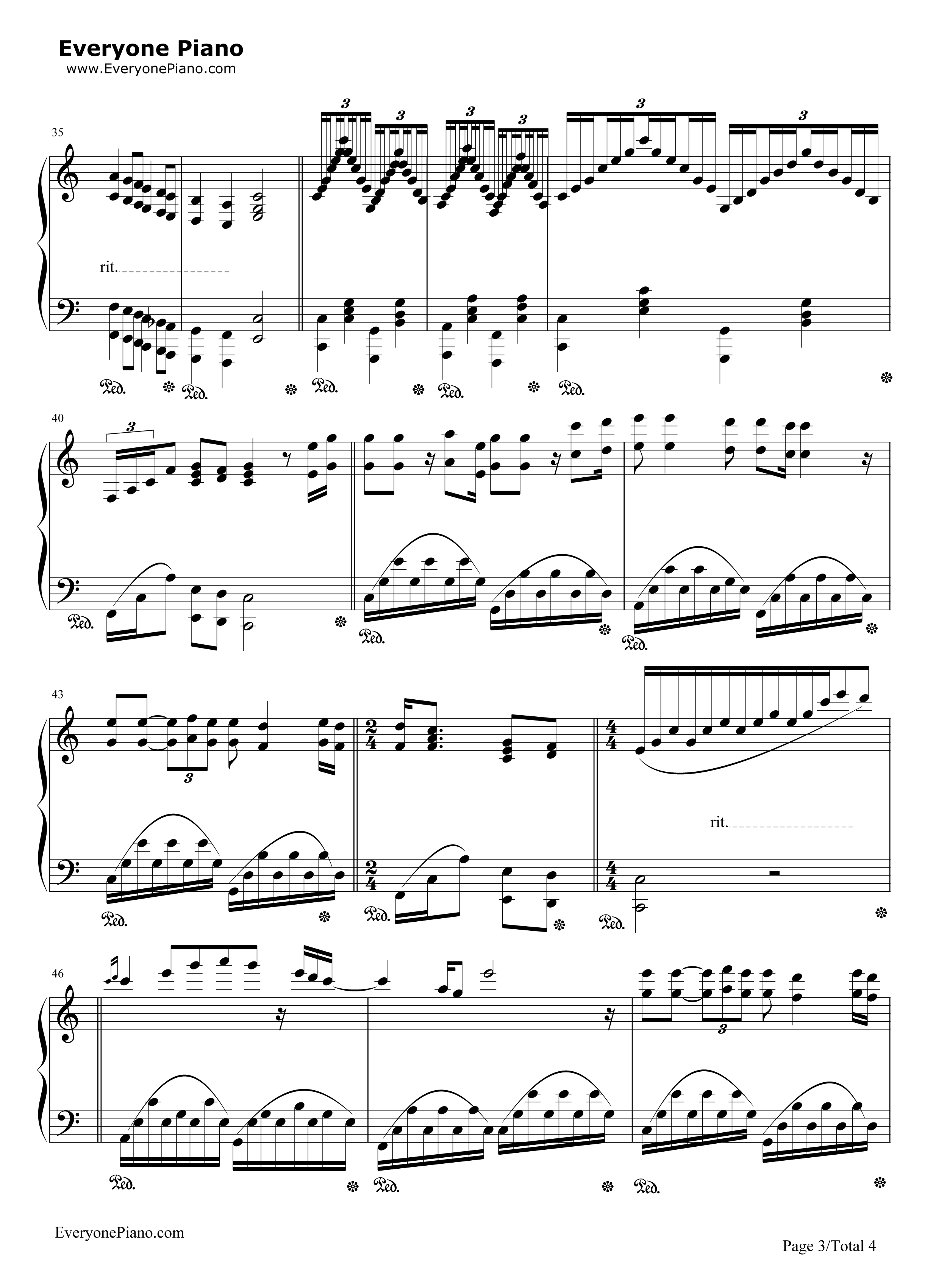 Let It Be-Richard Clayderman Stave Preview 3-Free Piano Sheet Music u0026 Piano Chords
