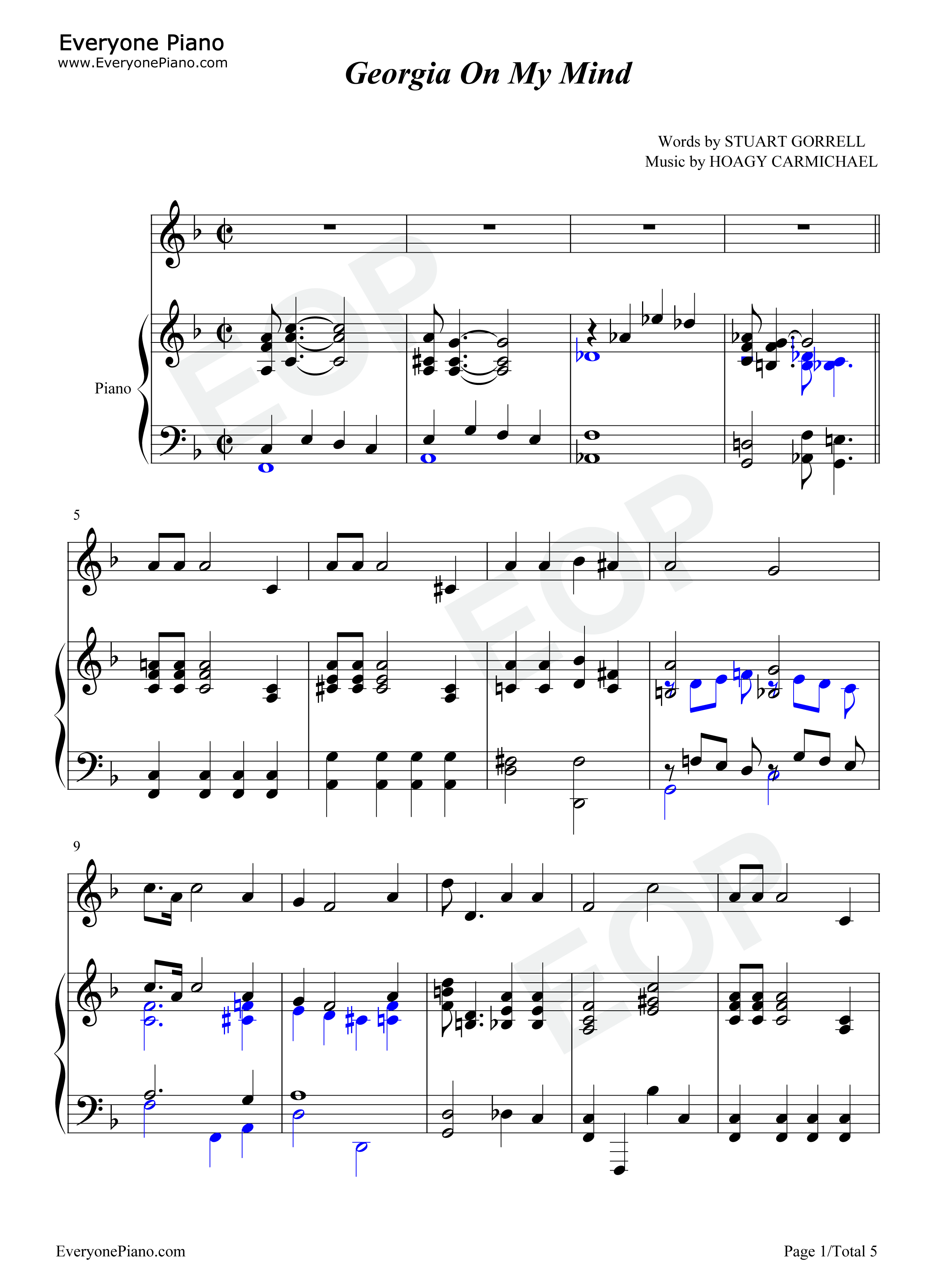 Georgia on my mind ray charles stave preview 1 free piano sheet listen now print sheet georgia on my mind ray charles stave preview 1 hexwebz Image collections