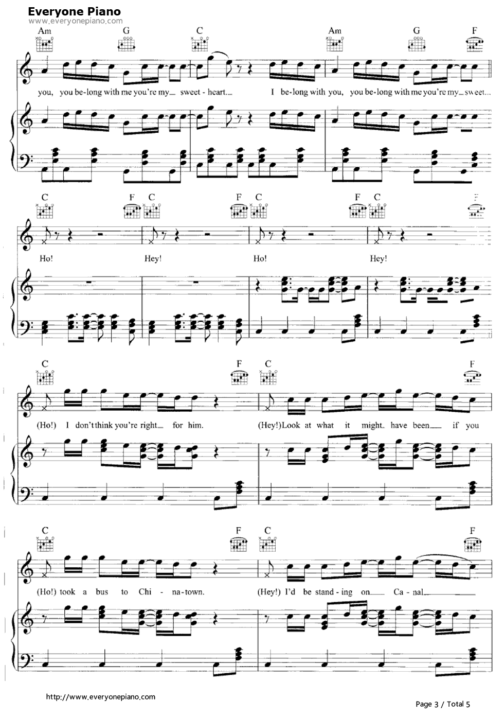 Ho Hey-The Lumineers Stave Preview 3-Free Piano Sheet Music u0026 Piano Chords