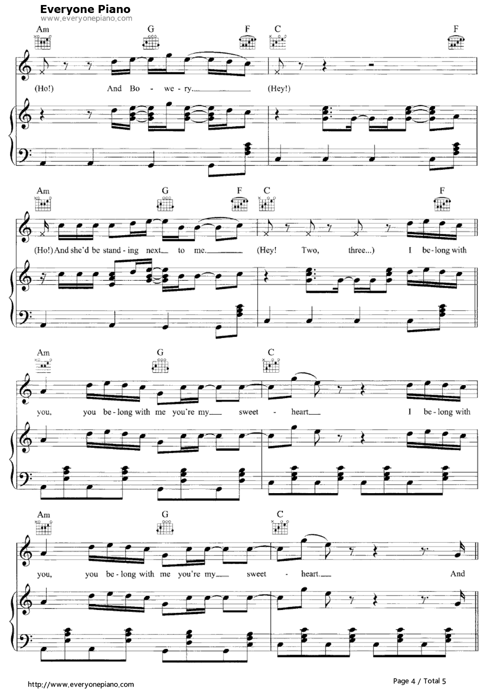 Ho Hey-The Lumineers Stave Preview 4-Free Piano Sheet Music u0026 Piano Chords