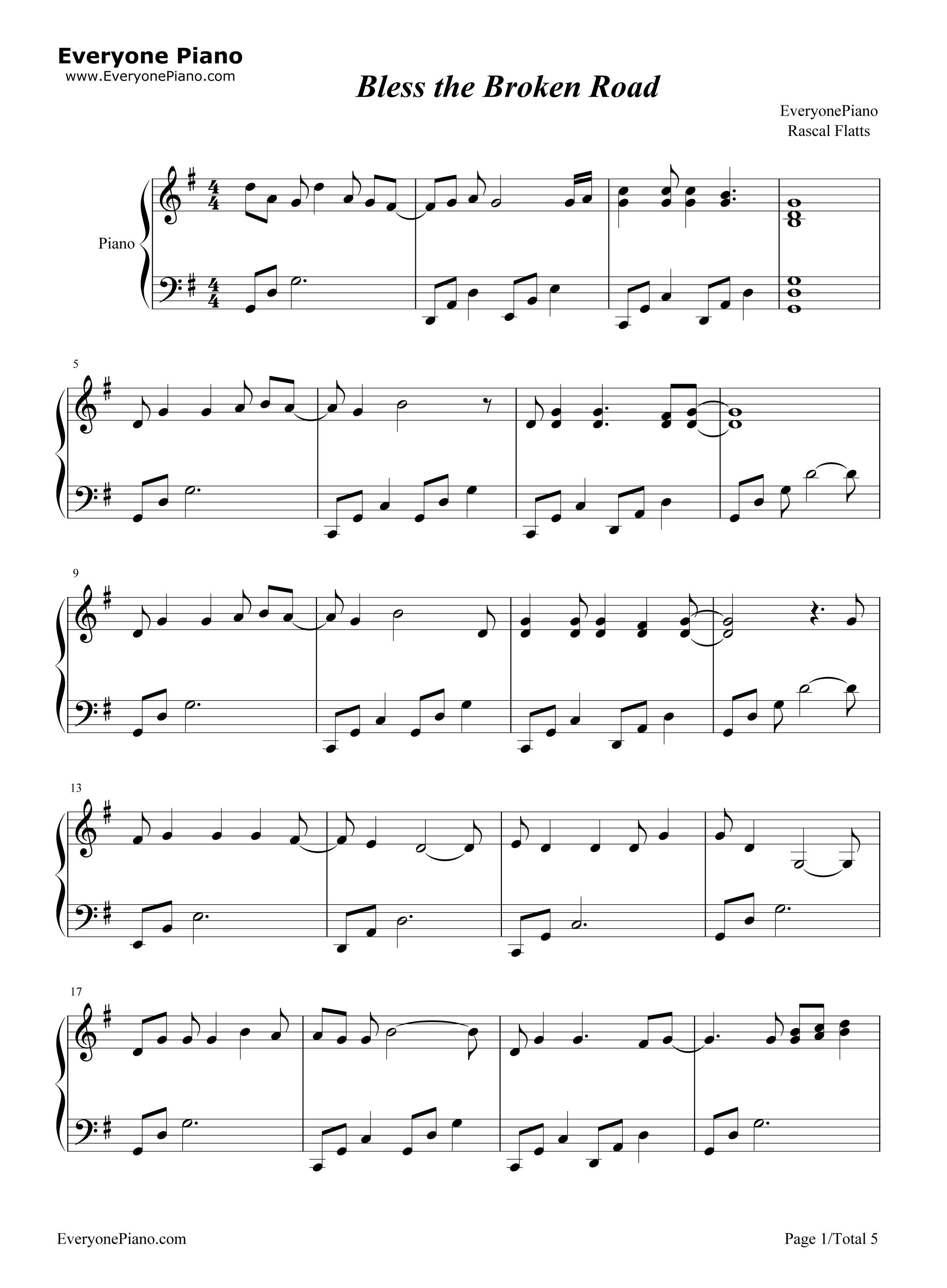 Bless the Broken Road-Rascal Flatts Stave Preview 1-Free Piano Sheet Music u0026 Piano Chords