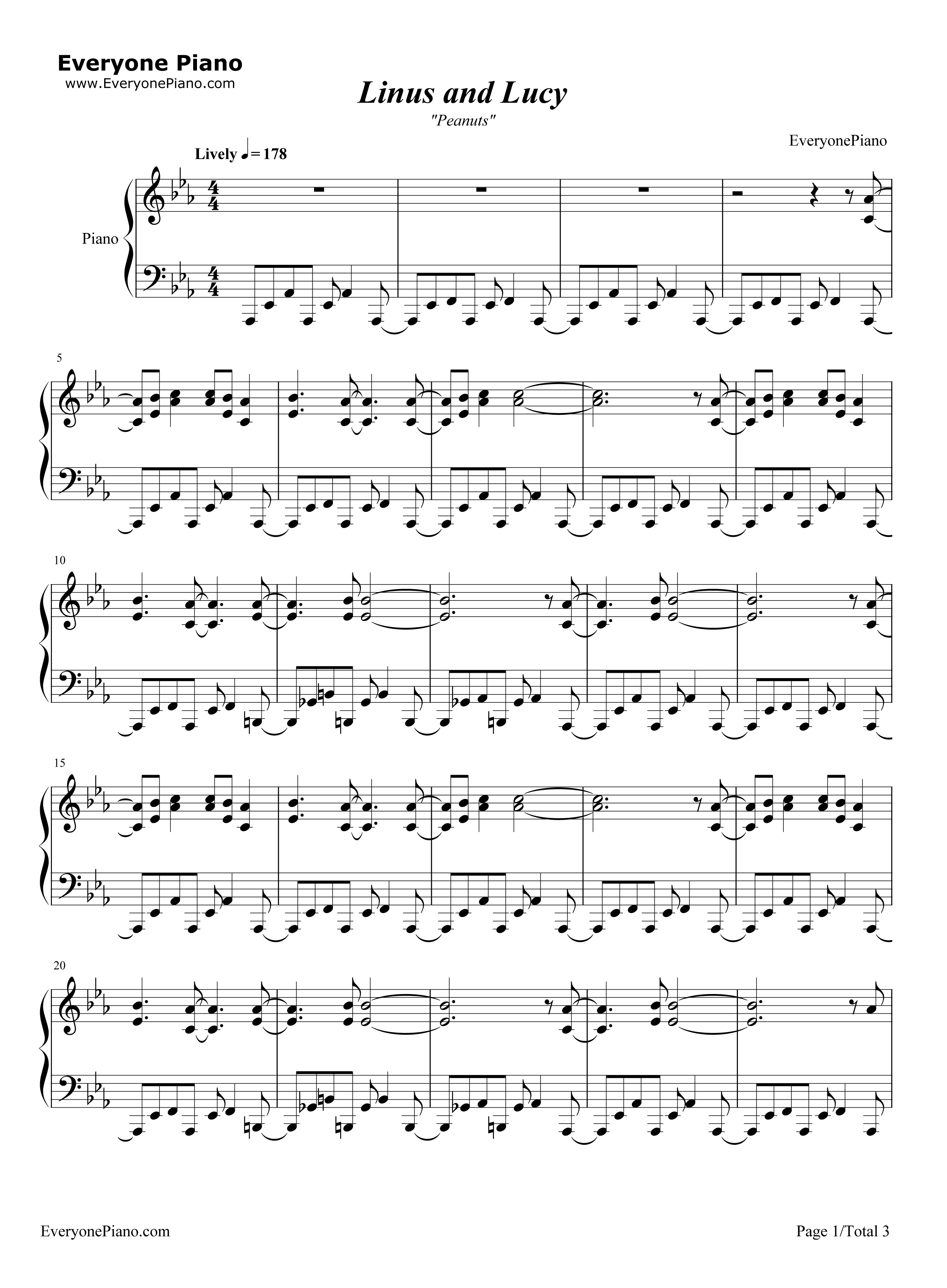 Piano tabs linus and lucy