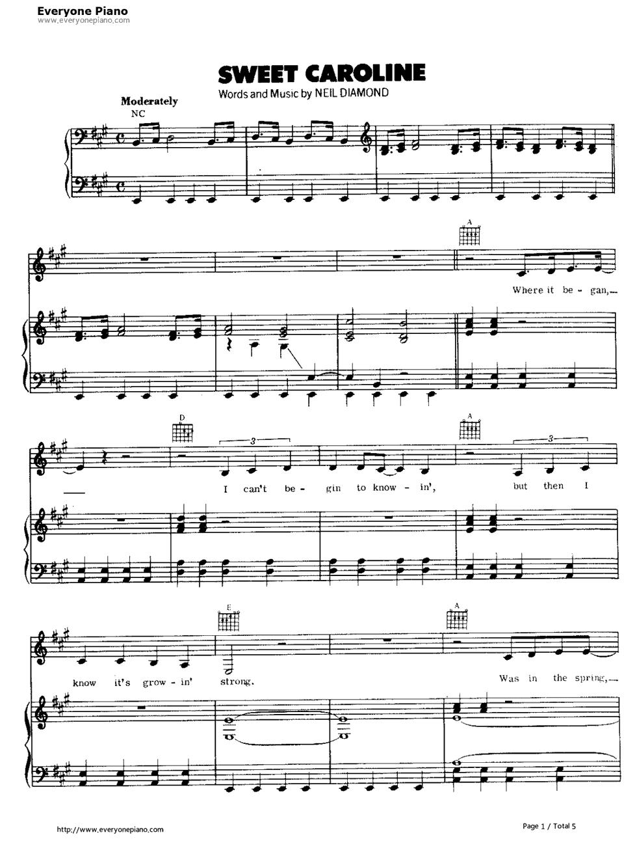 Sweet Caroline-Neil Diamond Stave Preview 1-Free Piano Sheet Music u0026 Piano Chords
