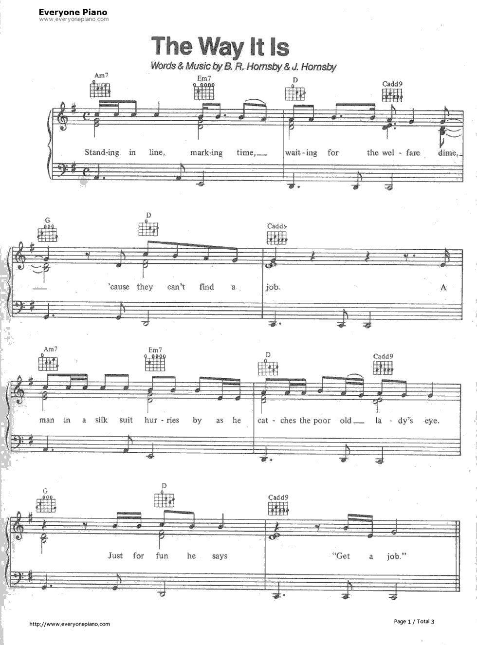 The way it is bruce hornsby stave preview 1 free piano sheet listen now print sheet the way it is bruce hornsby stave preview 1 hexwebz Images
