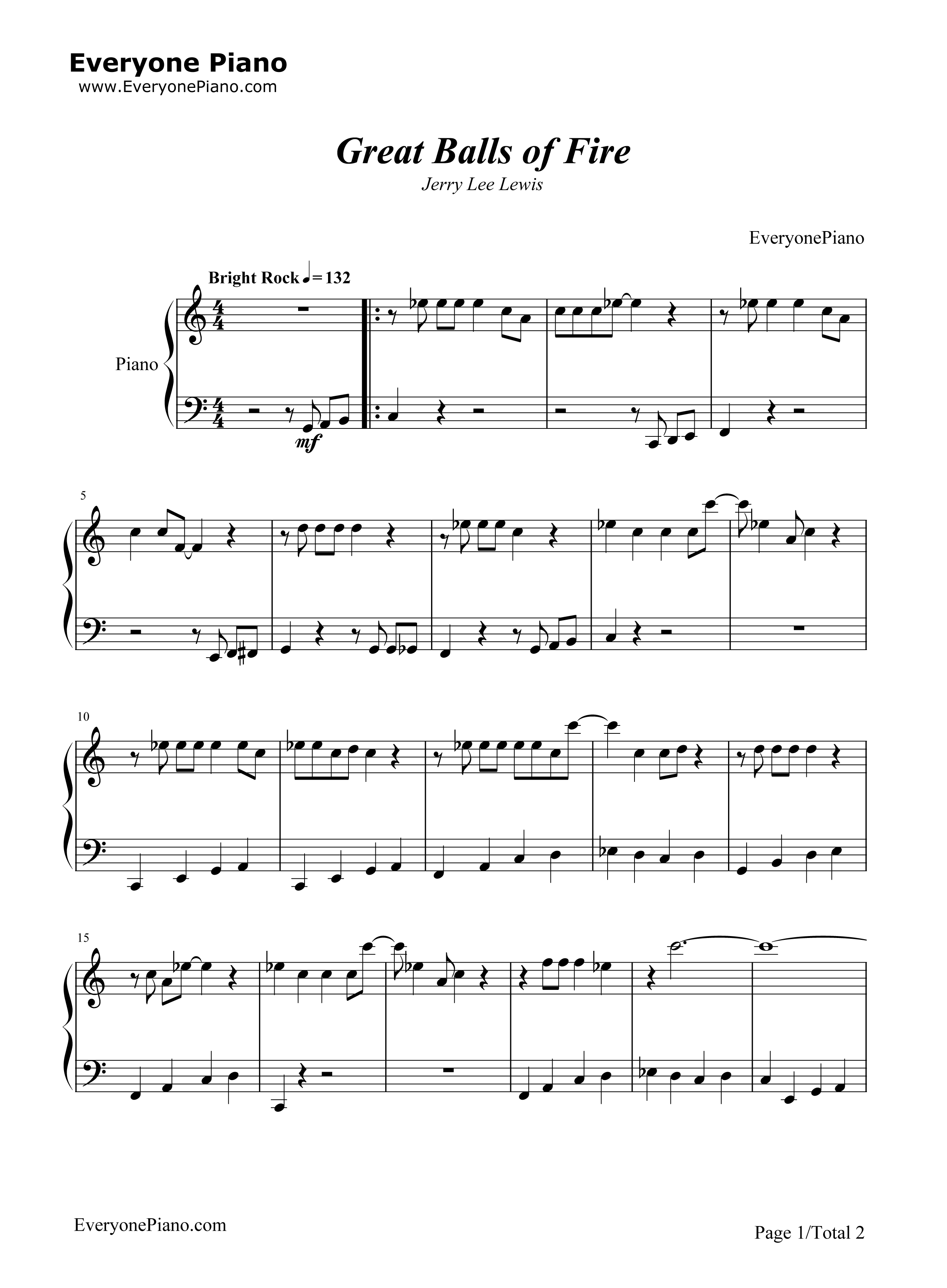 Great Balls of Fire-Jerry Lee Lewis Stave Preview 1-Free Piano Sheet Music u0026 Piano Chords