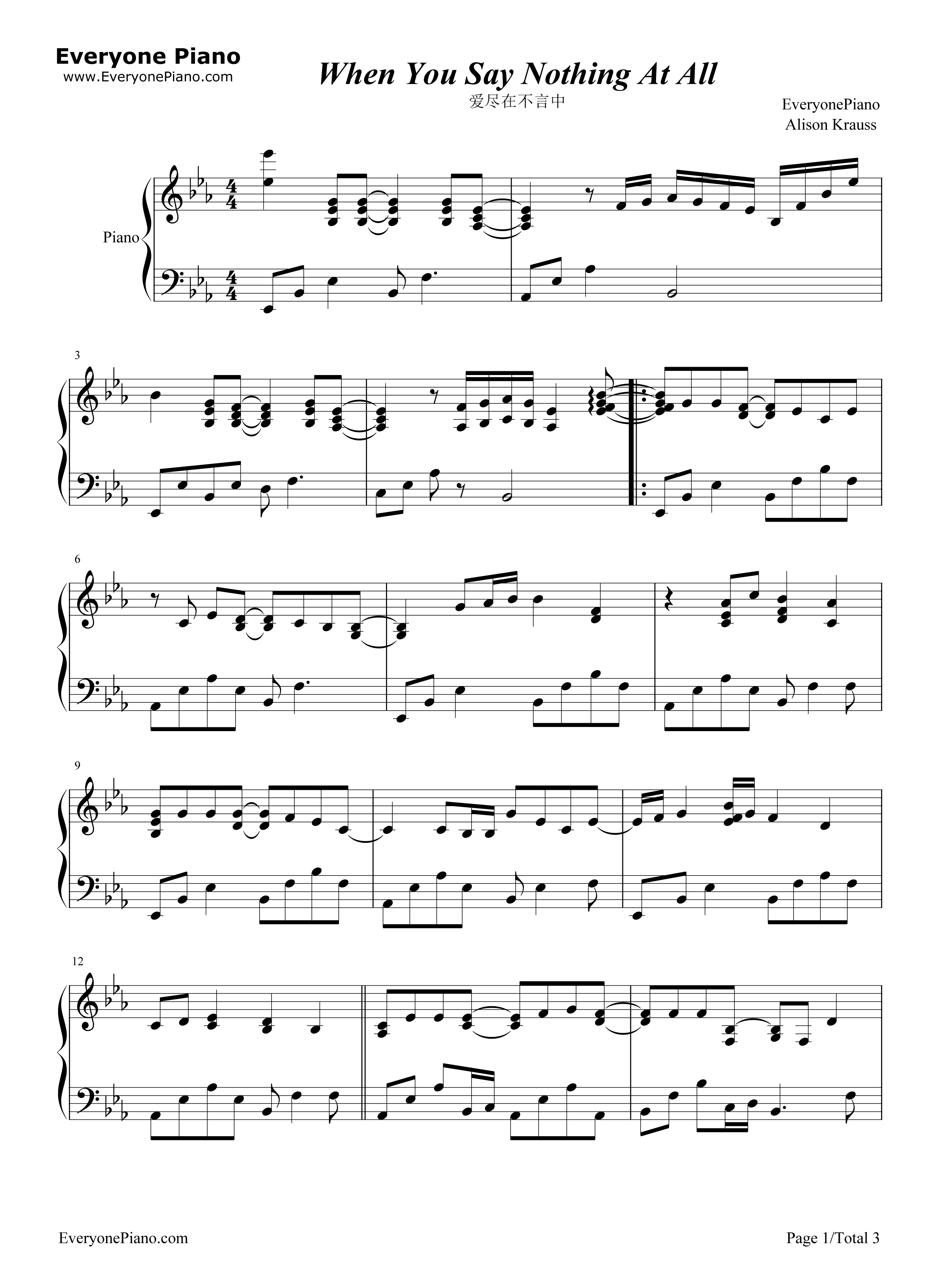 when you say nothing at all sheet music pdf