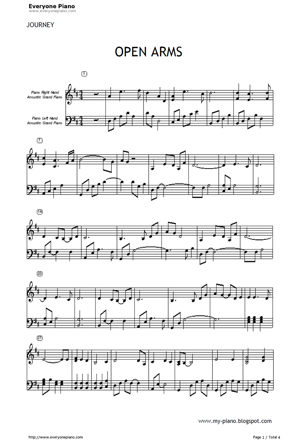 Open arms journey stave preview 1 free piano sheet music piano listen now print sheet open arms journey stave preview 1 hexwebz Images