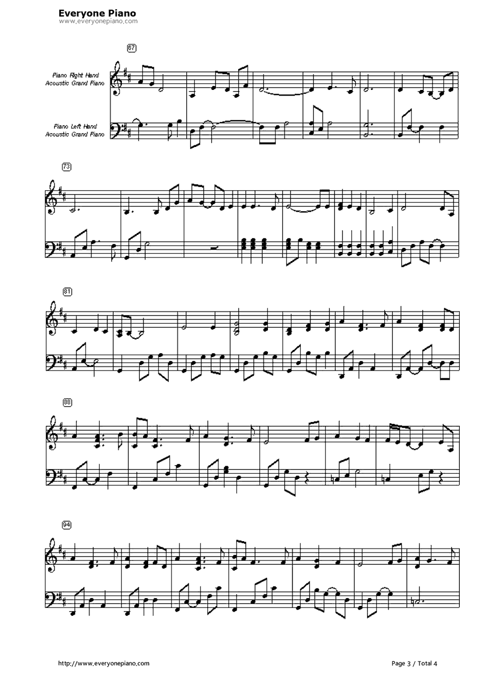 Open arms journey stave preview 3 free piano sheet music piano listen now print sheet open arms journey stave preview 3 hexwebz Images