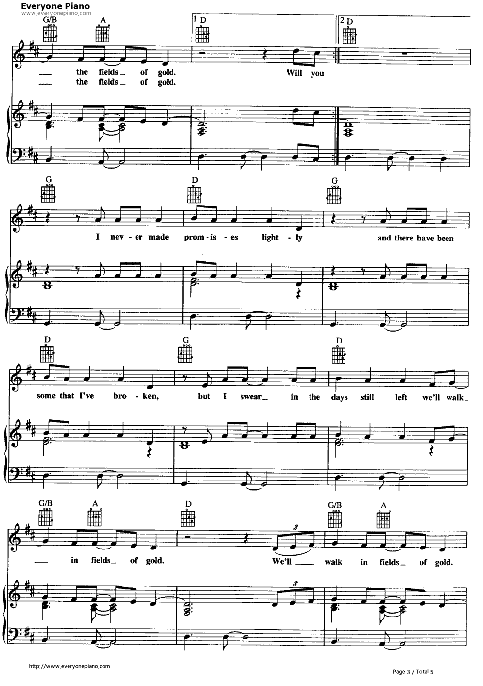 Fields of Gold-Sting Stave Preview 3-Free Piano Sheet Music u0026 Piano Chords