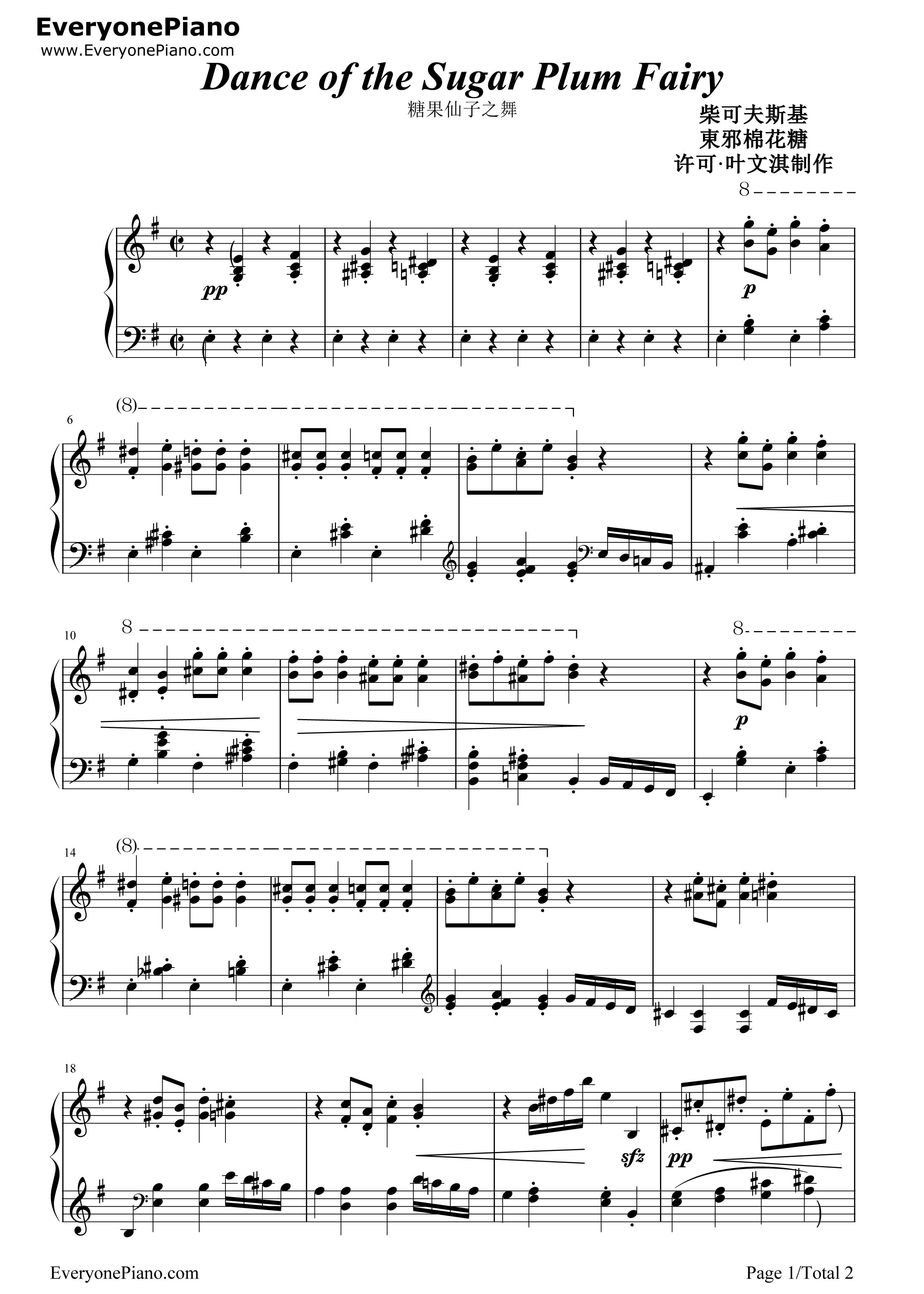 dance of the sugar plum fairy sheet music piano pdf