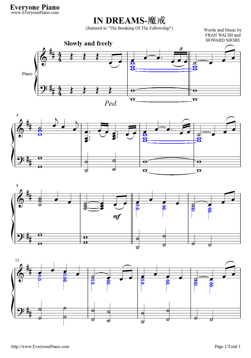 Lord Of The Rings Dreams Sheet Music