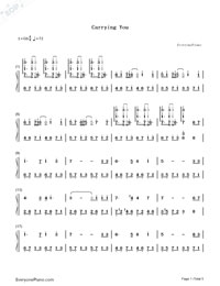 Carrying You-Castle in the Sky ED-Numbered-Musical-Notation-Preview-1