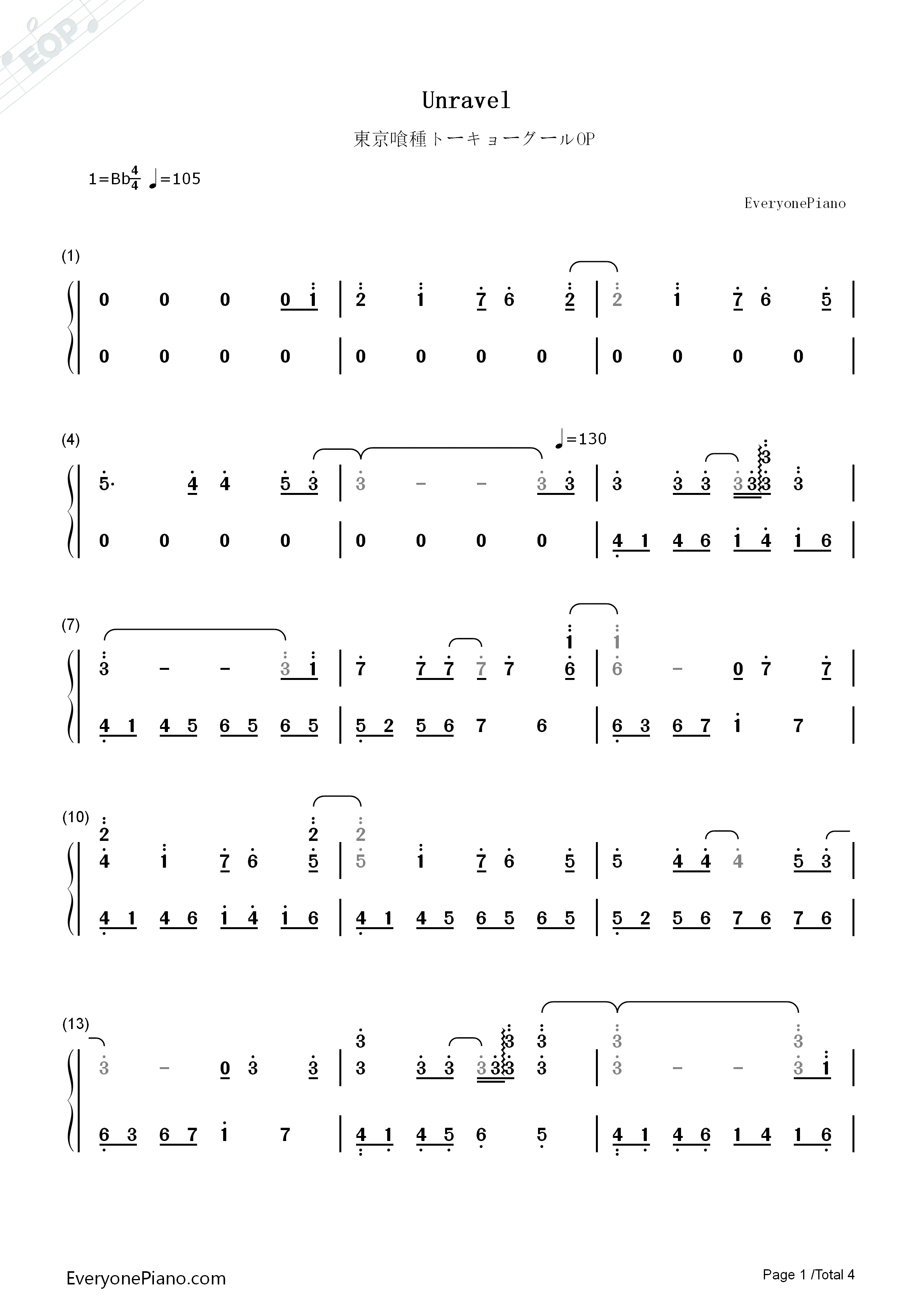 Unravel-Tokyo Ghoul OP Numbered Musical Notation Preview 1-Free Piano Sheet Music u0026 Piano Chords