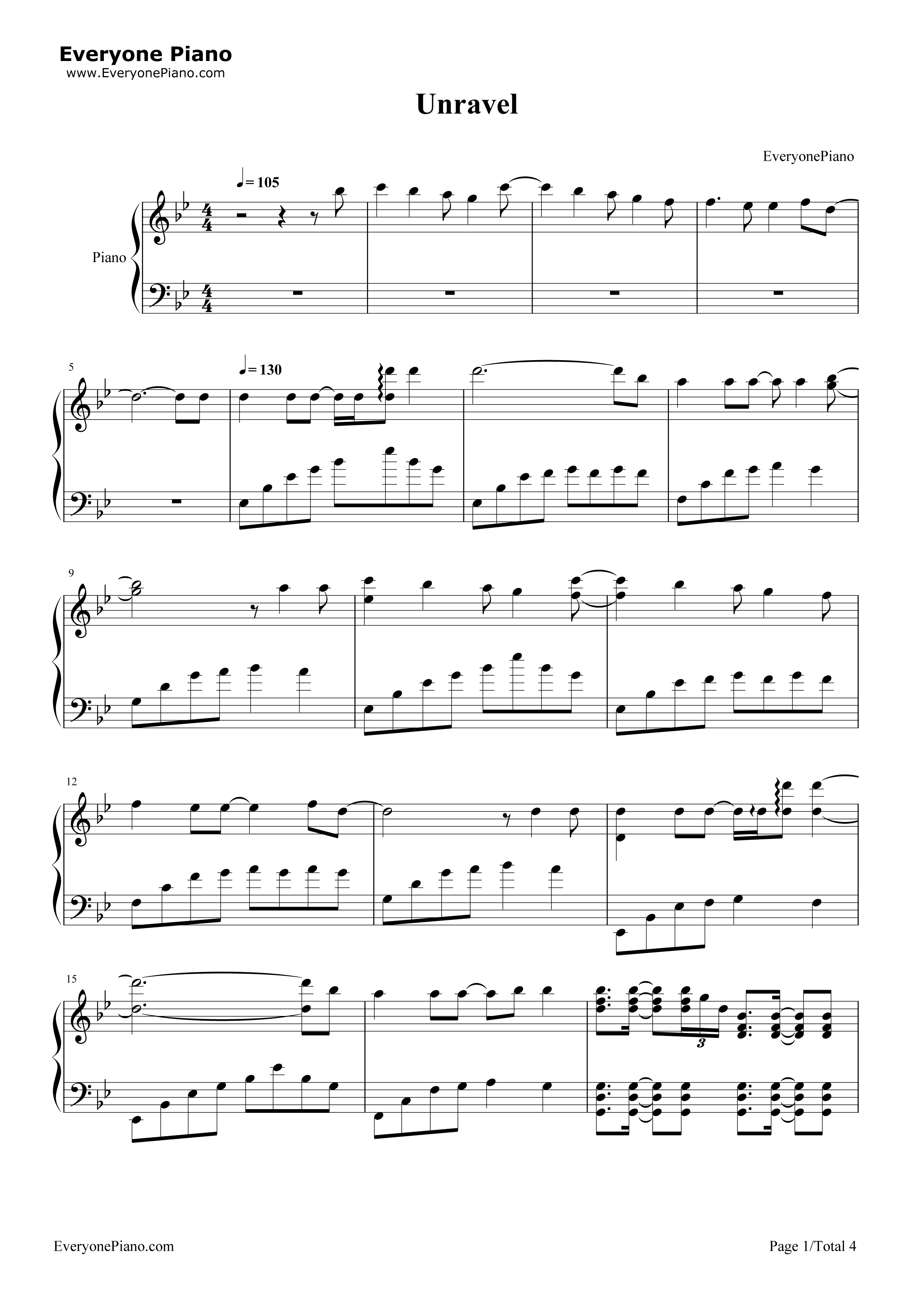 Unravel-Tokyo Ghoul OP Stave Preview 1-Free Piano Sheet Music u0026 Piano Chords