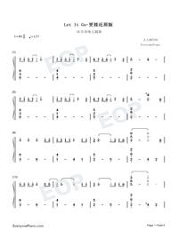 Let It Go-オリジナルに近いバージョン両手略譜プレビュー1