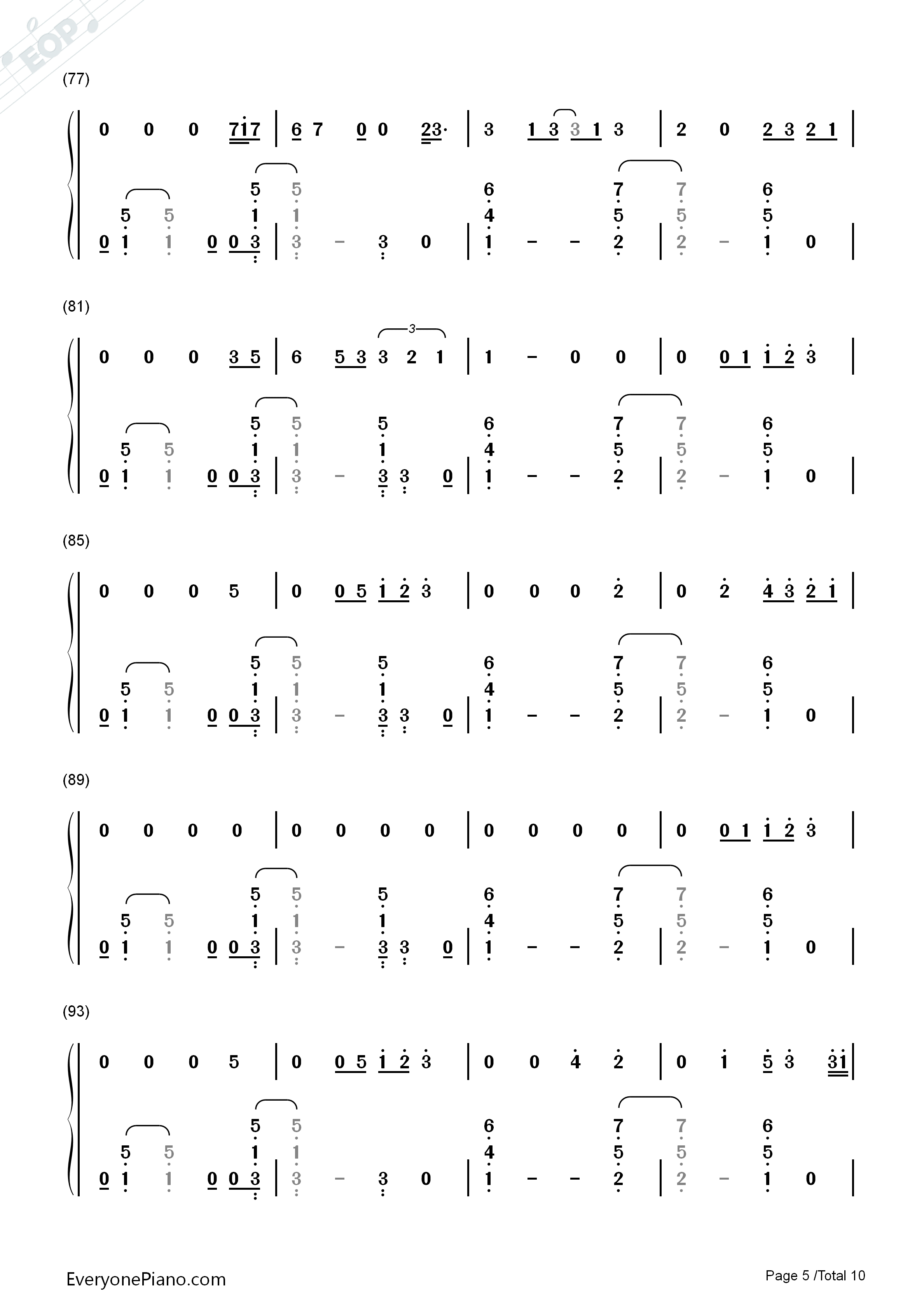 Thinking Out Loud-Ed Sheeran Numbered Musical Notation Preview 5
