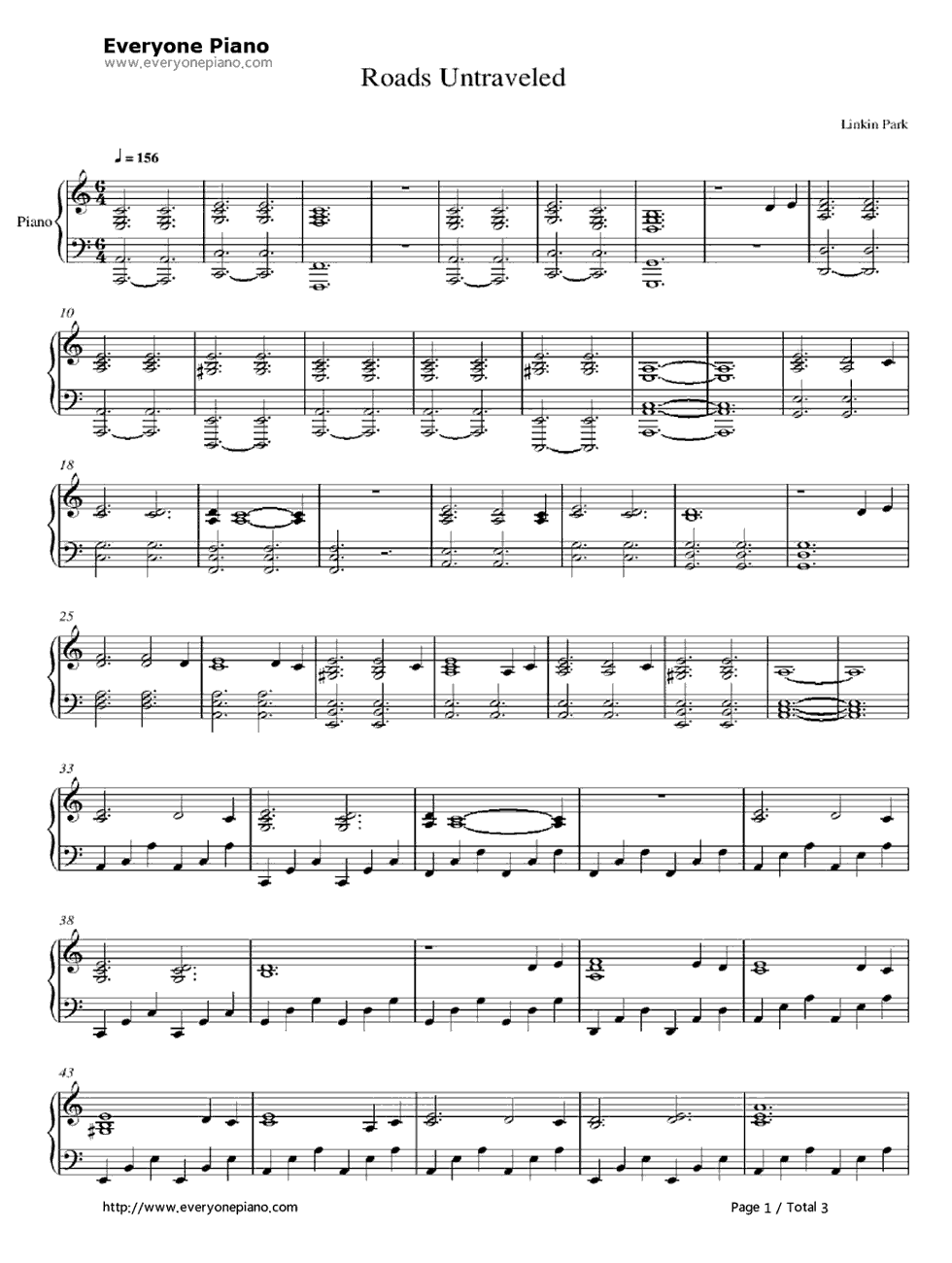 Linkin park roads untraveled sheet music for piano download free.