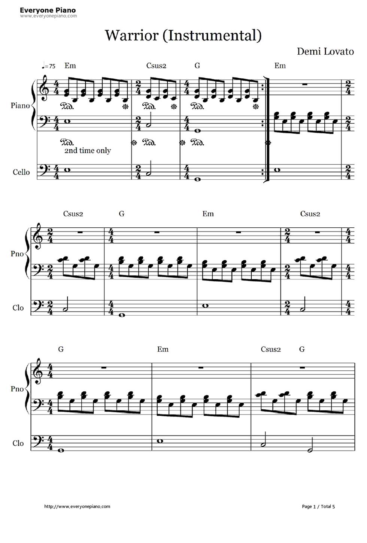 Warrior demi lovato accompaniment stave preview 1 free piano listen now print sheet warrior demi lovato accompaniment stave preview 1 hexwebz Images