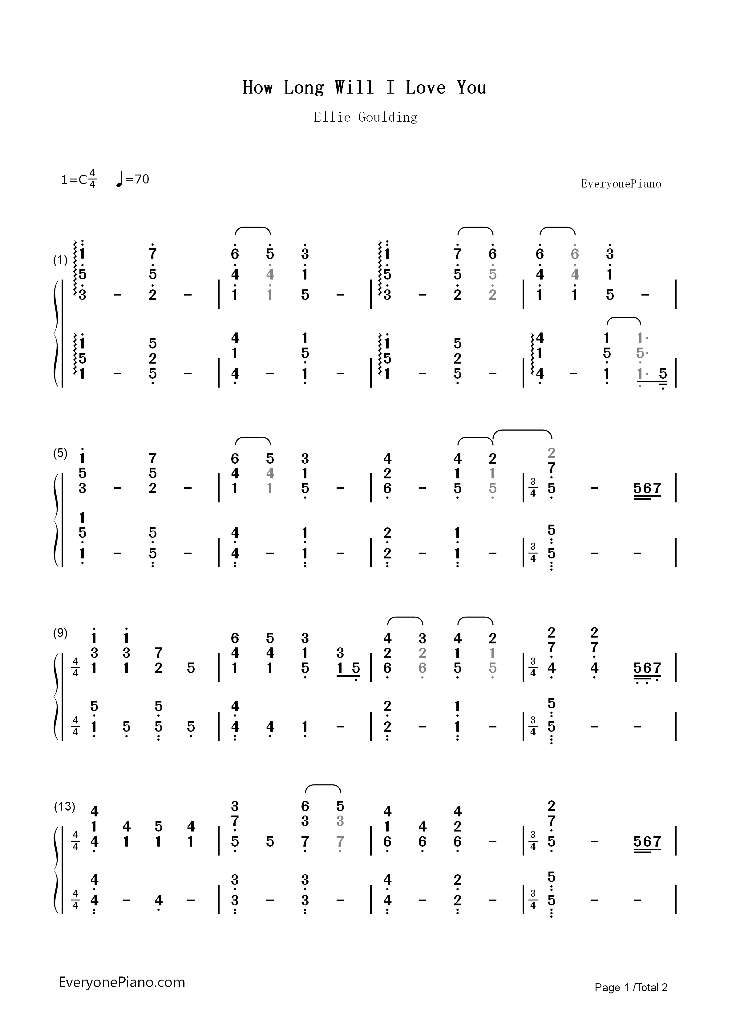 How long will i love you ellie goulding numbered musical notation listen now print sheet how long will i love you ellie goulding numbered musical notation preview 1 hexwebz Image collections