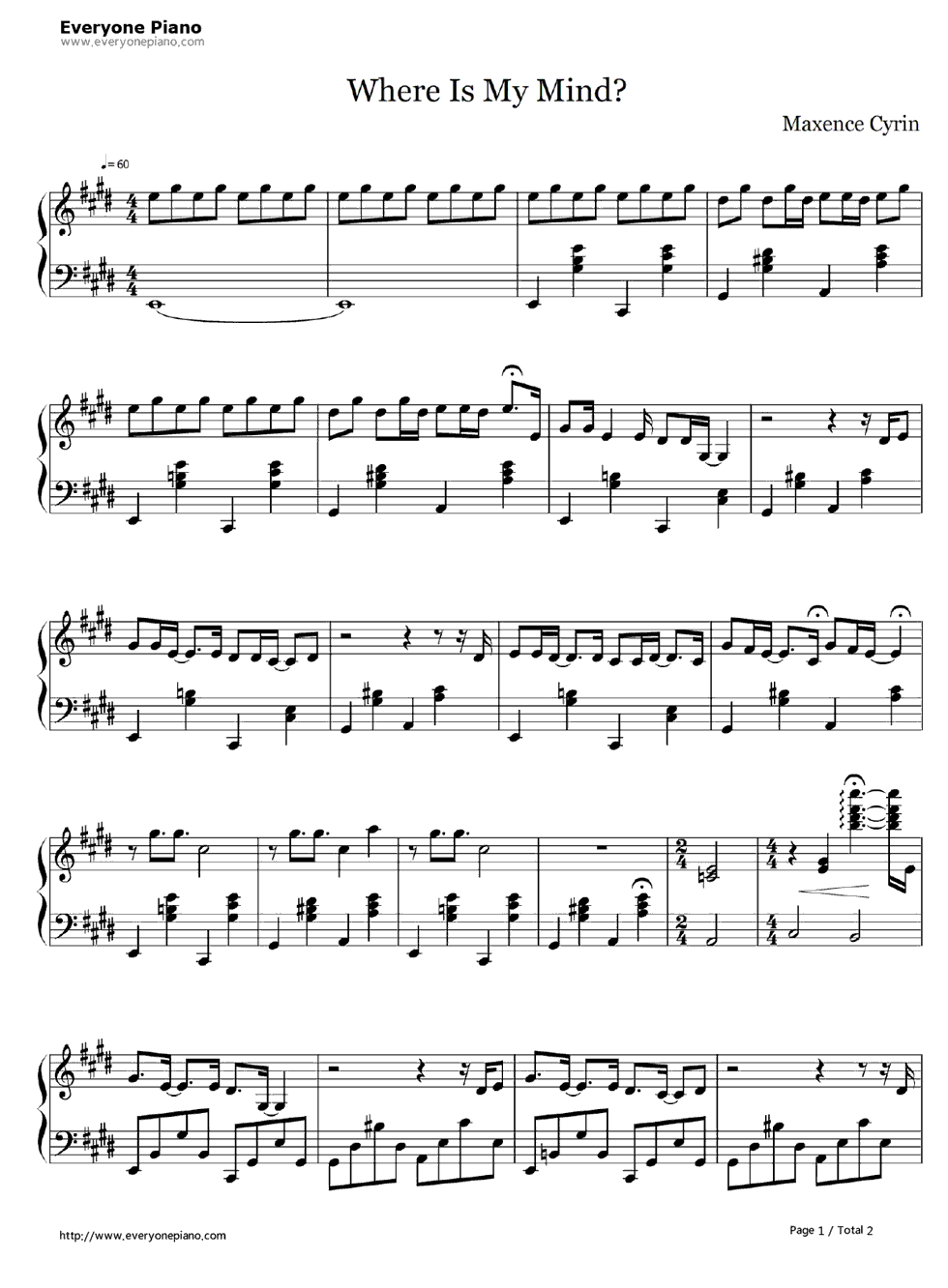 where is my mind sheet music free
