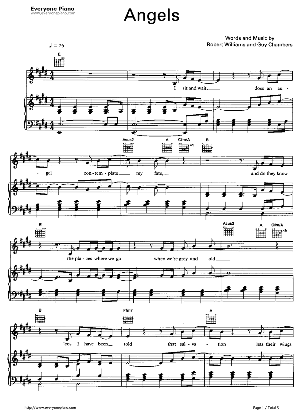 ... Robbie Williams Stave Preview 1-Free Piano Sheet Music & Piano Chords
