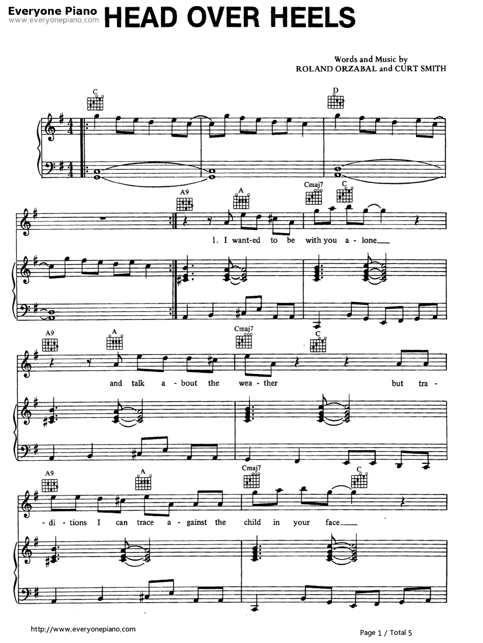 Head over heels (tears for fears) sheet music for french horn.
