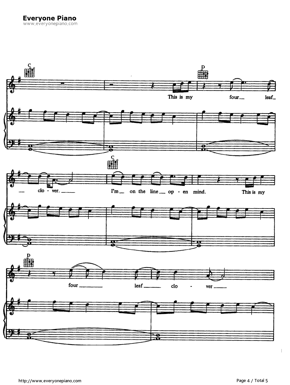 "Tears for fears ""head over heels"" sheet music in g major."