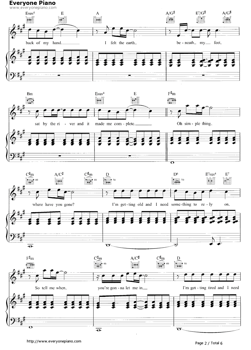 Somewhere only we know stave preview 2 free piano sheet music listen now print sheet somewhere only we know stave preview 2 hexwebz Images