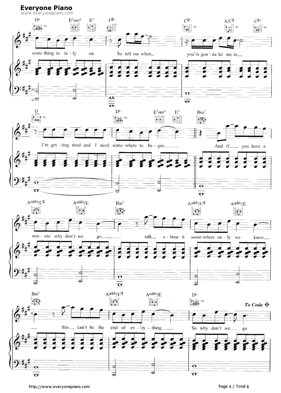 Somewhere only we know stave preview 4 free piano sheet music listen now print sheet somewhere only we know stave preview 4 hexwebz Images