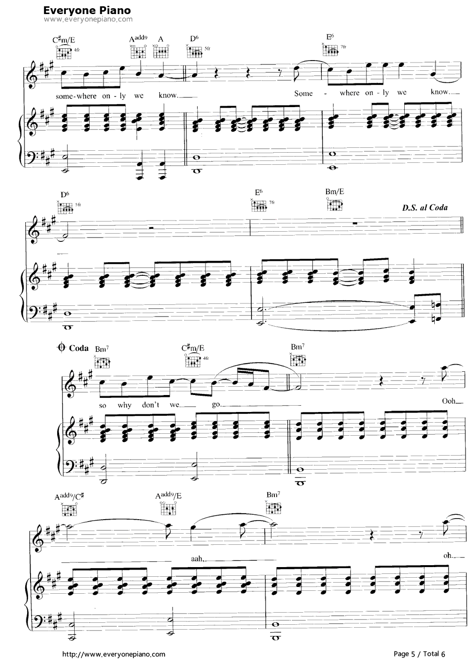Somewhere only we know stave preview 5 free piano sheet music listen now print sheet somewhere only we know stave preview 5 hexwebz Images