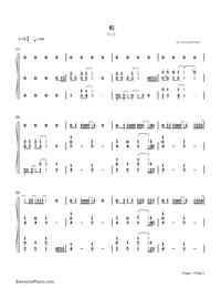 Niji-Kazunari Ninomiya-Numbered-Musical-Notation-Preview-1