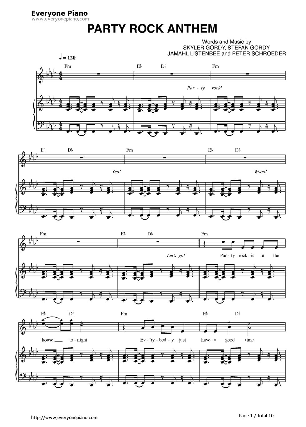 Party rock anthem lmfao stave preview 1 free piano sheet music listen now print sheet party rock anthem lmfao stave preview 1 hexwebz Choice Image