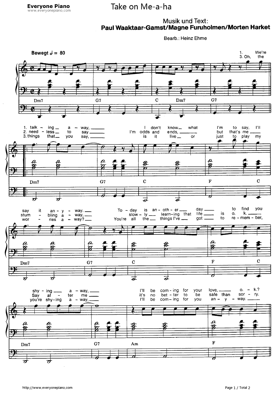 Take on me a ha stave preview 1 free piano sheet music piano chords listen now print sheet take on me a ha stave preview 1 hexwebz Images