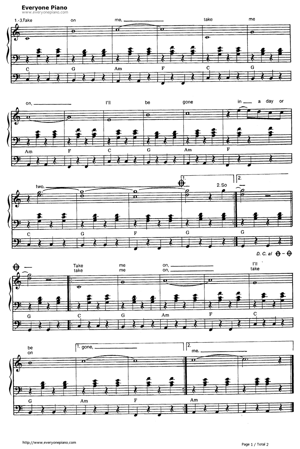 Take on me a ha stave preview 2 free piano sheet music piano chords listen now print sheet take on me a ha stave preview 2 hexwebz Images