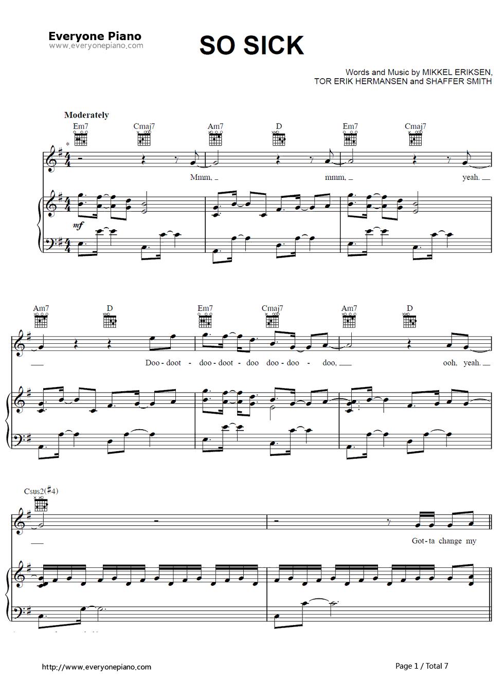 So sick ne yo stave preview 1 free piano sheet music piano chords listen now print sheet so sick ne yo stave preview 1 hexwebz Image collections