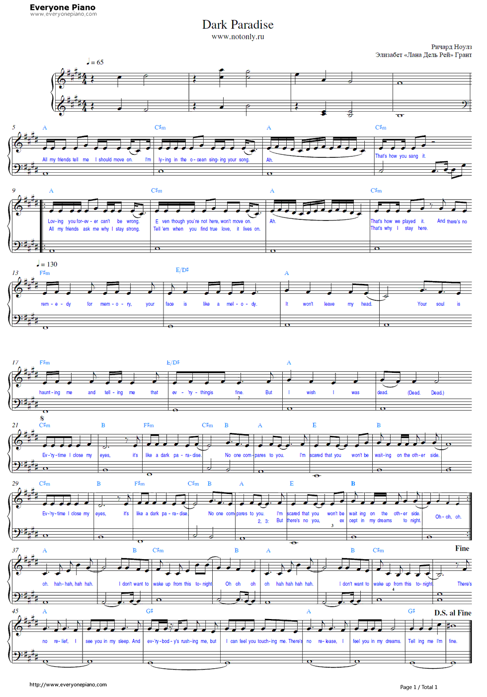 Alfa img - Showing u0026gt; Dark Paradise Chords Piano
