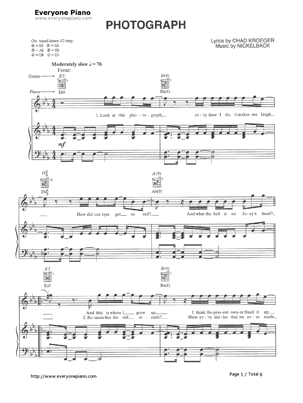 Photograph-Nickelback Stave Preview 1-Free Piano Sheet Music u0026 Piano Chords