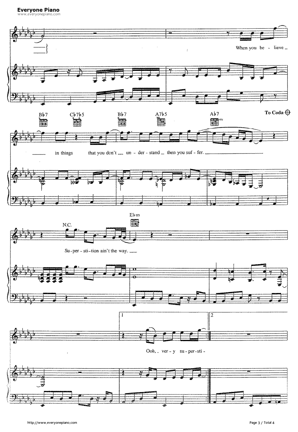 Superstition-Stevie Wonder Stave Preview 3- Free Piano Sheet