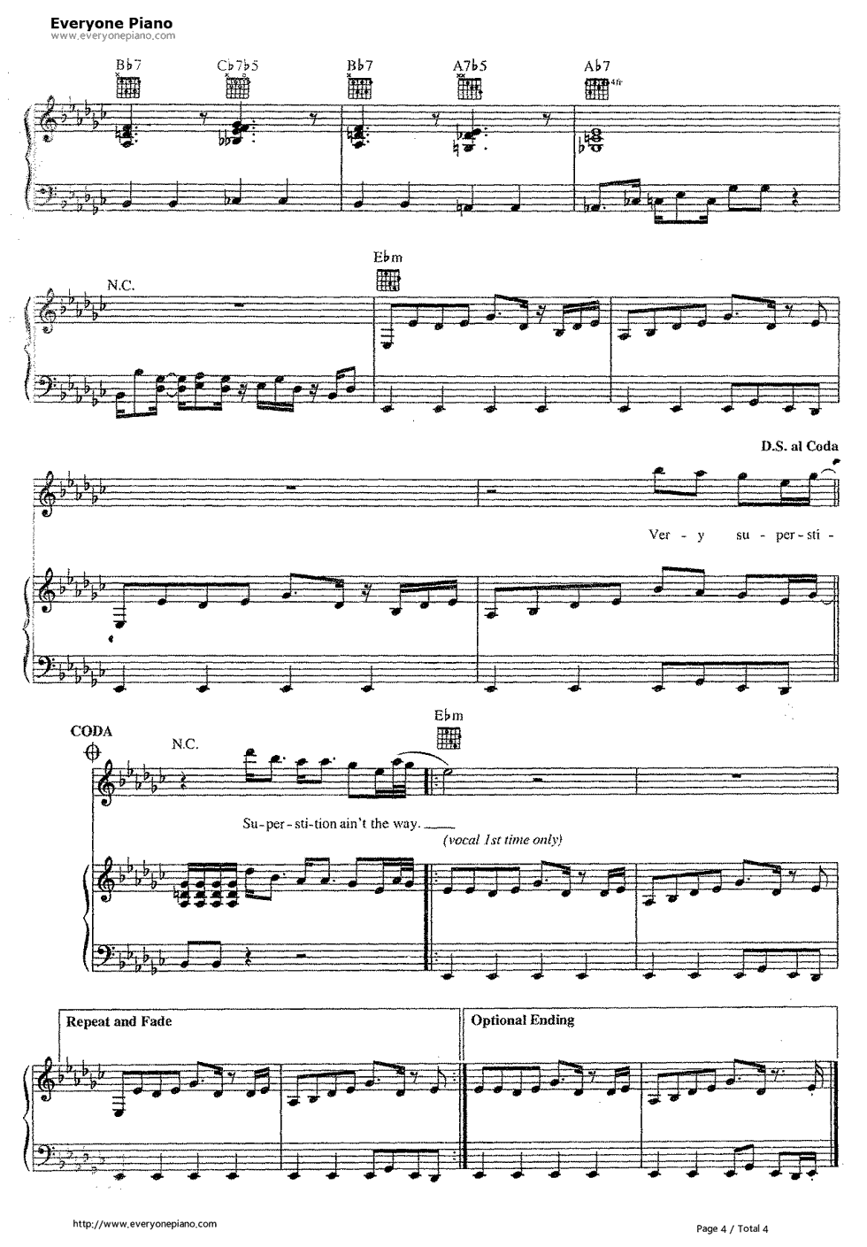 ... -Stevie Wonder Stave Preview 4-Free Piano Sheet Music & Piano Chords
