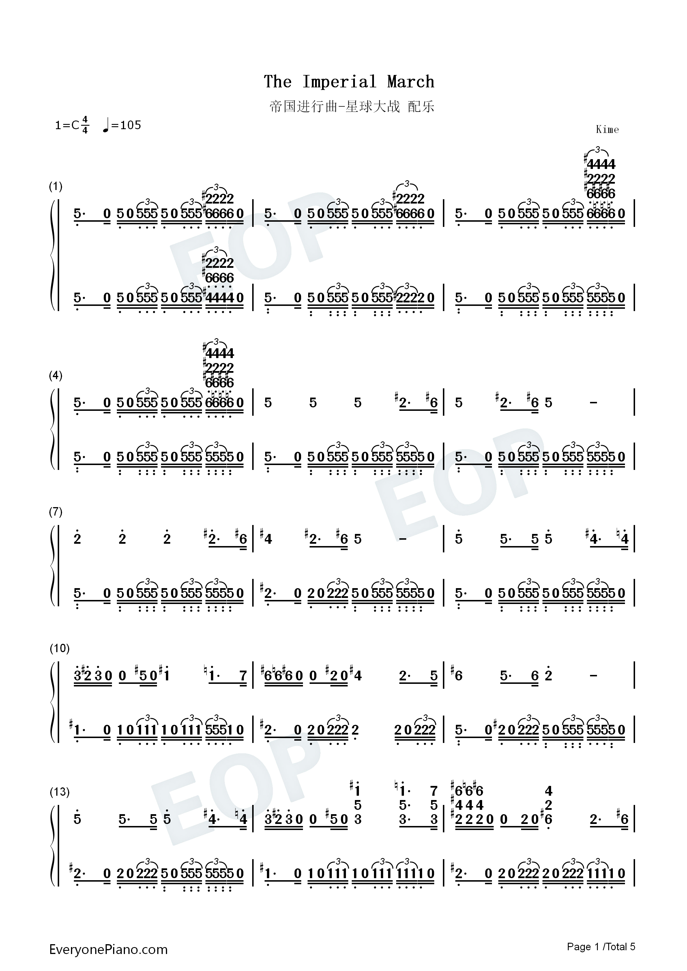 the imperial march star wars theme numbered musical notation