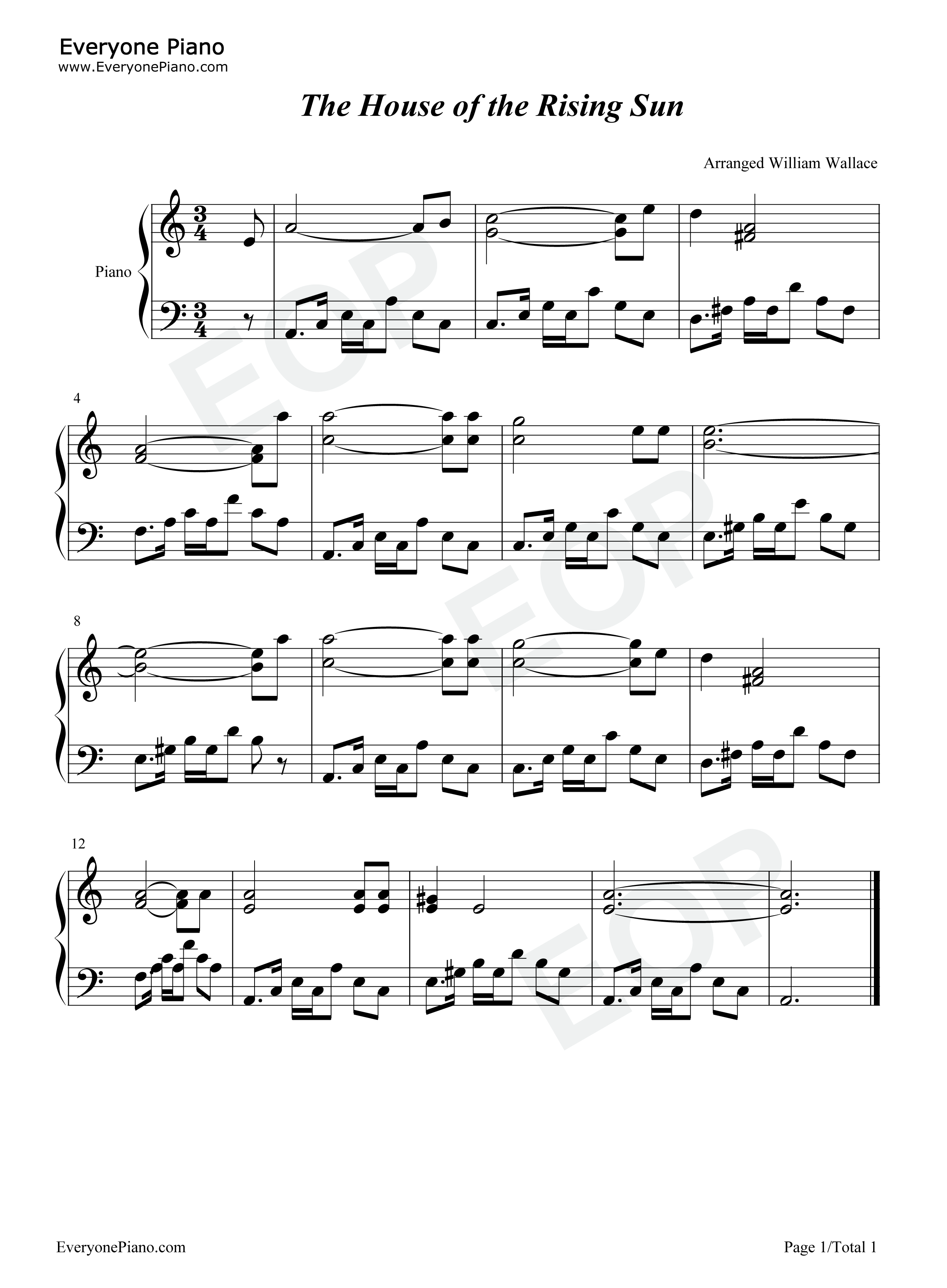 The House of the Rising Sun-The Animals Stave Preview 1-Free Piano Sheet Music u0026 Piano Chords