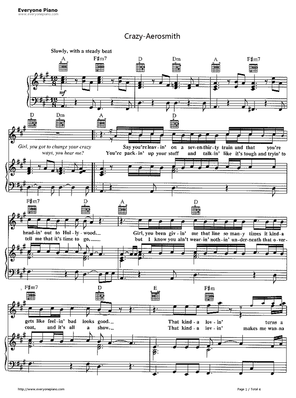 Crazy aerosmith stave preview 1 free piano sheet music piano chords listen now print sheet crazy aerosmith stave preview 1 hexwebz Choice Image