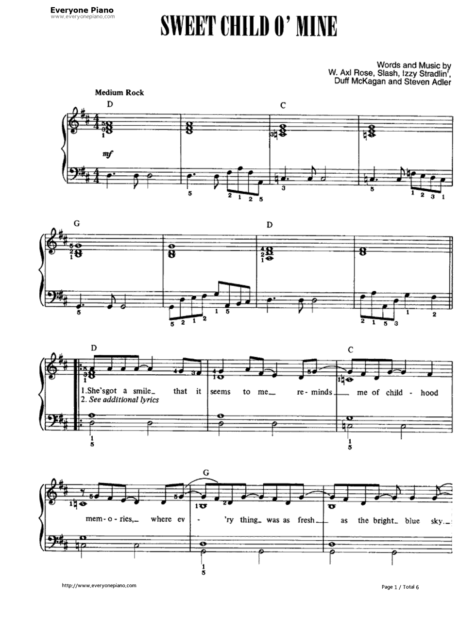 Sweet Child Ou0026#39; Mine-Guns Nu0026#39; Roses Stave Preview 1-Free Piano Sheet Music u0026 Piano Chords