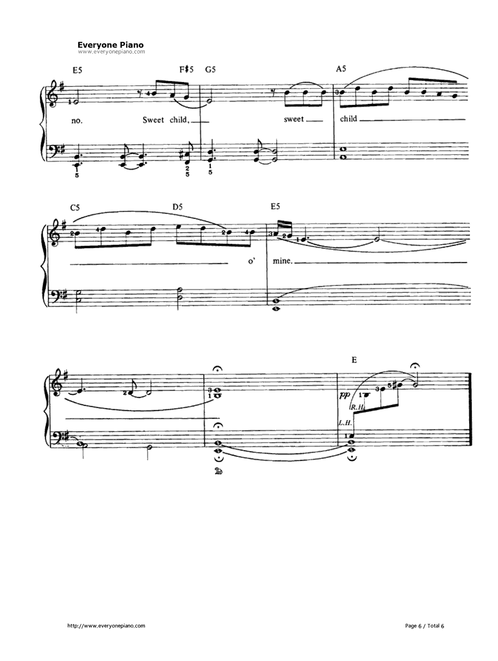 sweet child of mine sheet music piano pdf