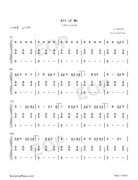 All of Me Voice+Piano-John Legend Numbered Musical Notation Preview 1