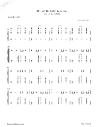 All of Me Full Version-John Legend Numbered Musical Notation Preview 1