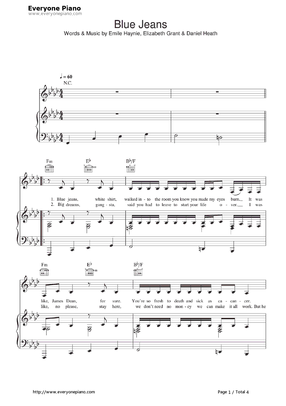 Blue jeans lana del rey stave preview 1 free piano sheet music listen now print sheet blue jeans lana del rey stave preview 1 hexwebz Image collections