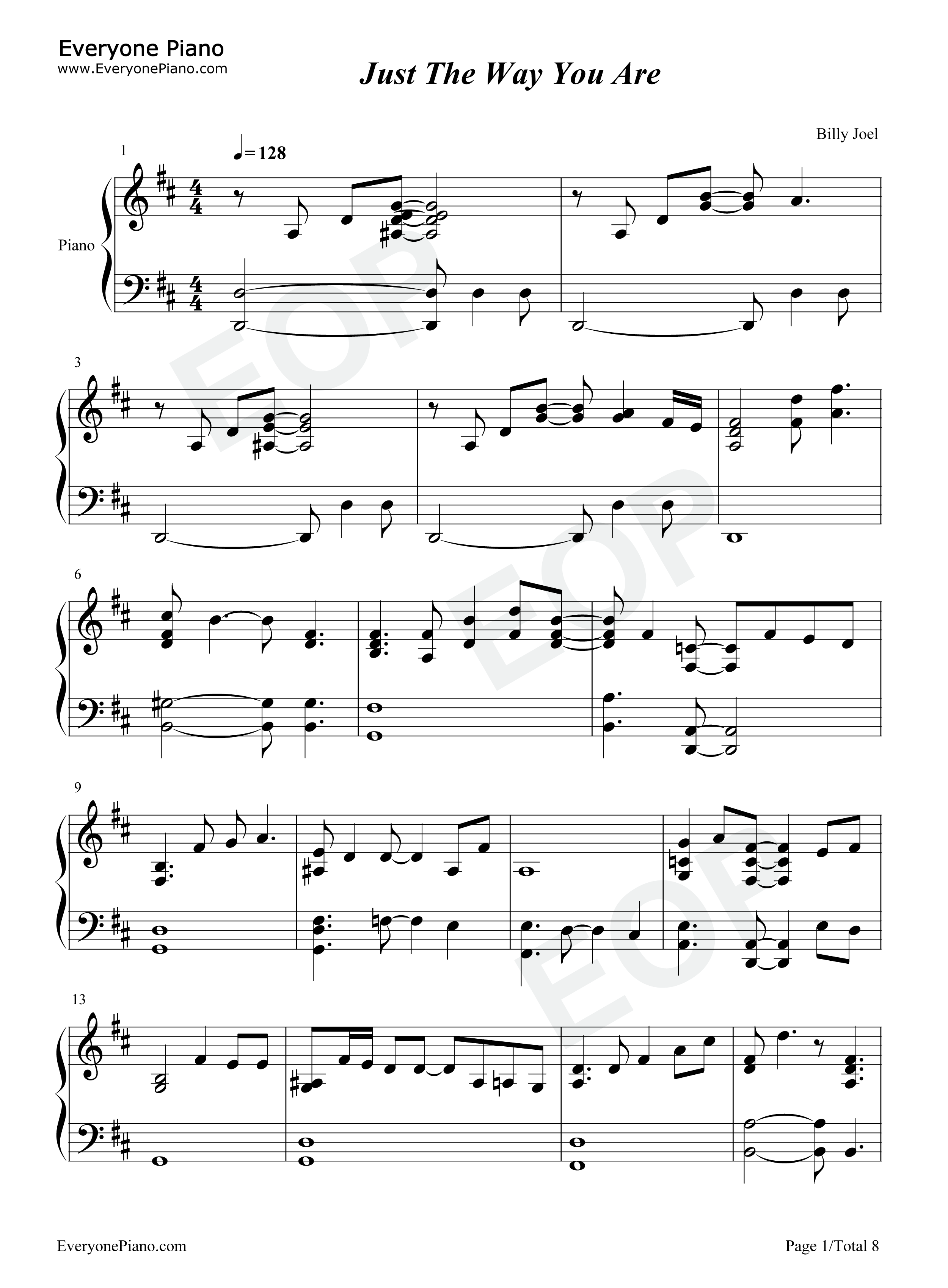 Just the way you are billy joel stave preview 1 free piano sheet listen now print sheet just the way you are billy joel stave preview 1 hexwebz Gallery