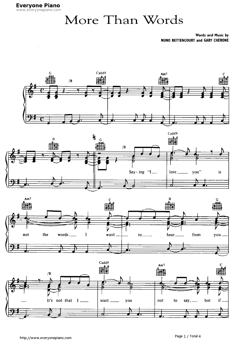More than words extreme stave preview 1 free piano sheet music listen now print sheet more than words extreme stave preview 1 hexwebz Images