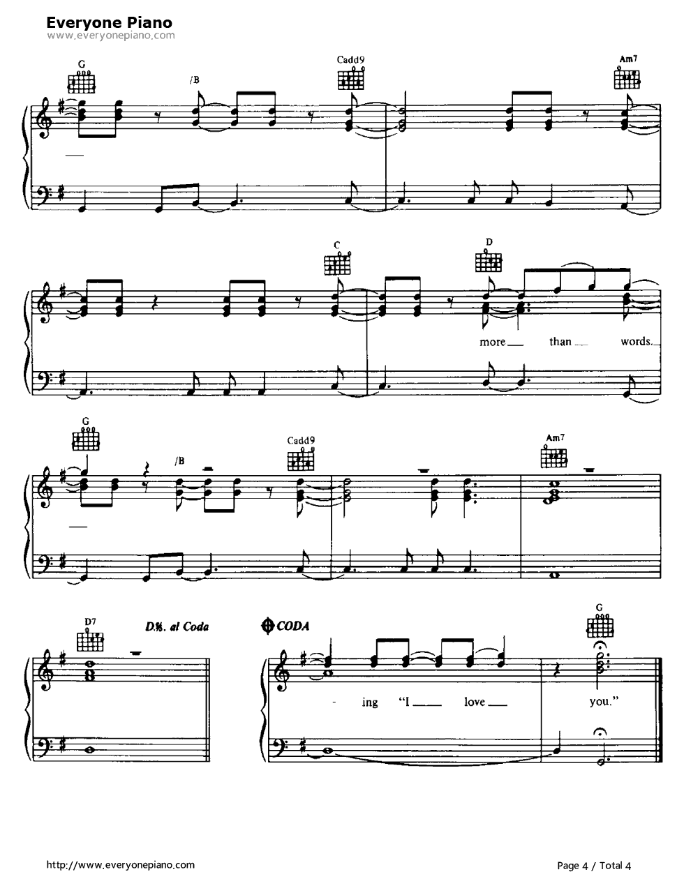 More than words extreme stave preview 4 free piano sheet music listen now print sheet more than words extreme stave preview 4 hexwebz Images